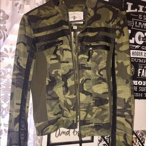 Jackets & Blazers - Camo and leather jacket
